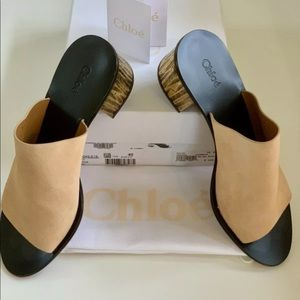 New CHLOÉ Beige Rose Leather Sandals Size 40 (10B)